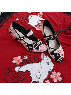 Sakura Japanese Style Middle-heels Shoes by Sentaro