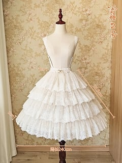 Gorgeous Layered Frost Candy Lace A-line Bell-shaped Petticoat Skirt by Sentaro