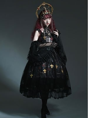 Dance of Skeleton Gothic Lolita Dress JSK Full Set by Sweety Honey