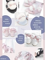 Puff Pink White and Blue Mid-heels Sandals by Sheep Puff