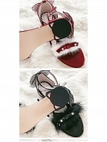 Pre-order The Small Cat Matte Black Patent Leather Black Wine Red Low-heels Sandals by Sheep Puff