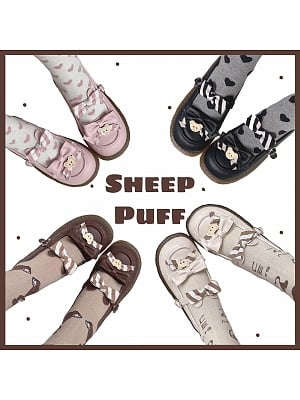 Bear Decoration Flat-heel Shoes by Sheep Puff