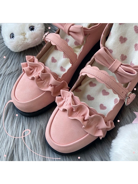 Melullo Pink Color Round Head Low-heel Shoes by Sheep Puff