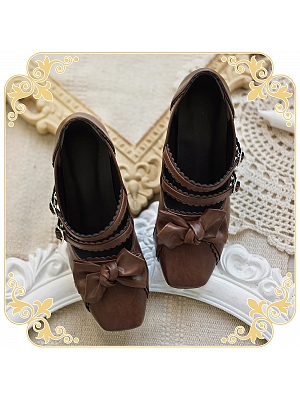 Elegant Square Head Middle-heel Shoes by Sheep Puff
