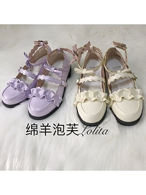 Melullo Round Head Low-heel Shoes Light Purple and Apricot by Sheep Puff