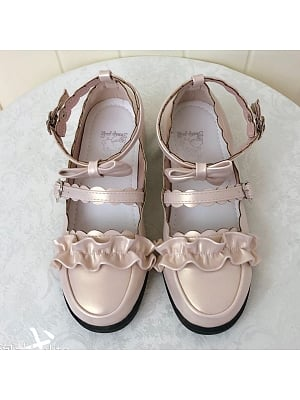 Melullo Round Head Low-heel Shoes Pearl Apricot by Sheep Puff