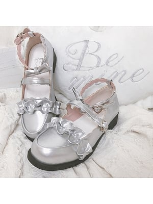 Melullo Round Head Low-heel Shoes Silver by Sheep Puff