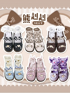 Bear Decoration Flat-heel Shoes New Color by Sheep Puff