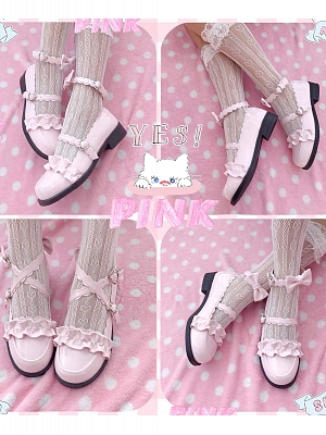 Melulu Paint Powder Round Head Uniform Shoes by Sheep Puff