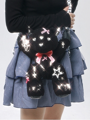 Black Teddy Gothic Lolita Metal Chain Bag by SOS MEME CLUB