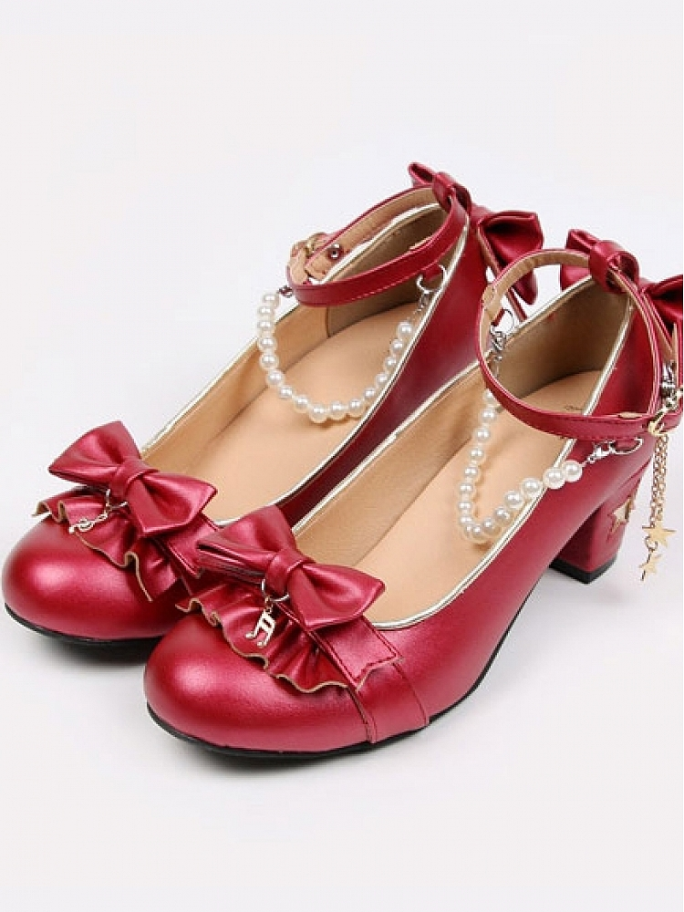 [$43 00]Song Of Stars Note Pattern Bowknot Ankle Strap Shoes
