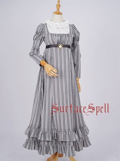 Custom Size Avaliable Stand Collar Long Sleeve Striped Long Dress OP by Surface Spell