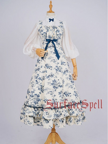 Custom Size Avaliable Flowers Square Neckline Long Dress JSK by Surface Spell