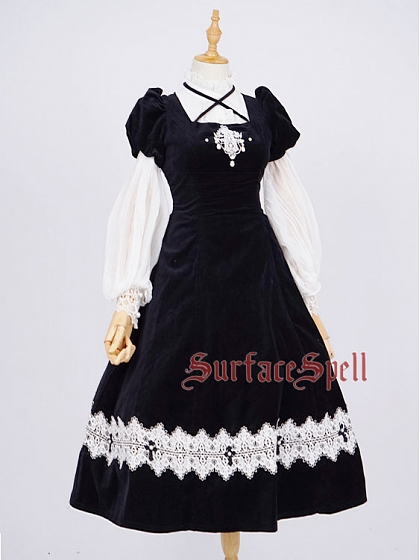Custom Size Avaliable Lace-up Back Short Lantern sleeve OP by Surface Spell