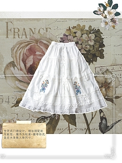 Waterfront of Blooming Thyme Embroidery Placket Elasticized Waist SK (New Color) by Surface Spell
