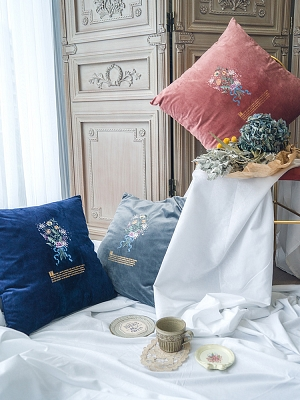 Velvet Flower and Grass Pillowcase by Surface Spell