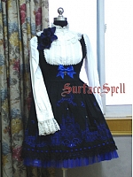 Custom Size Available Embroidered Church Bathing in Moonlight Open-Bust JSK