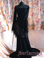 Custom Velvet Lace Up Back Evening Dress with Chapel by Surface Spell