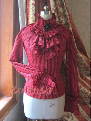 Custom SIze Available Layered Cravat Striped Blouse by Surface Spell