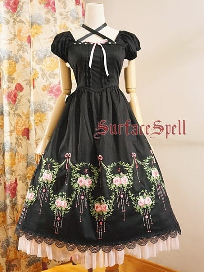 Custom Size Available Dance of Rose Short Puff Sleeve Long OP by Surface Spell