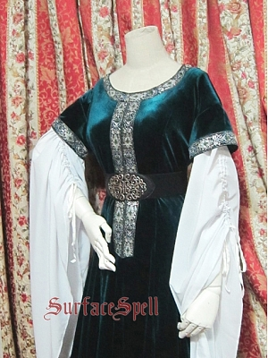 Custom Size Available Lady of the Shield-Arm Chiffon and Velvet Patchwork Gown by Surface Spell