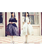 Custom Size Available White Day and Dark Night Open-Shoulder JSK with Drawstring Hemline