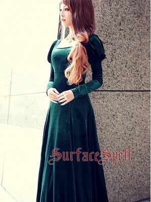 Custom Size Available Elegant Juliet Sleeve Velvet Gown by Surface Spell