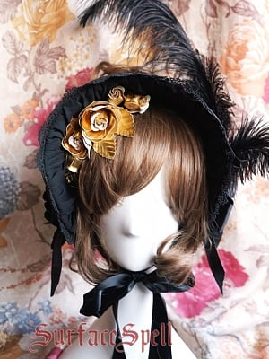 Ornate Ostrich Feather Dark Pattern Half Bonnet by Surface Spell