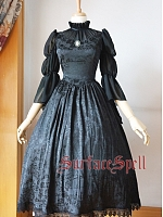 Custom Ruffled Stand Collar Long Gown by Surface Spell