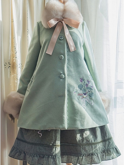 Fur Collar Banquet Embroidery Coat by Surface Spell