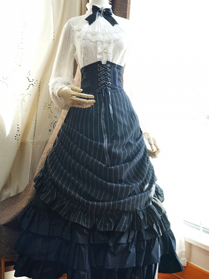 Custom Size Available Striped Bustle Inspired Long SK by Surface Spell