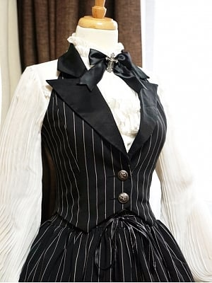 Custom Size Available Striped Peak Lapel Halter Waistcoat by Surface Spell