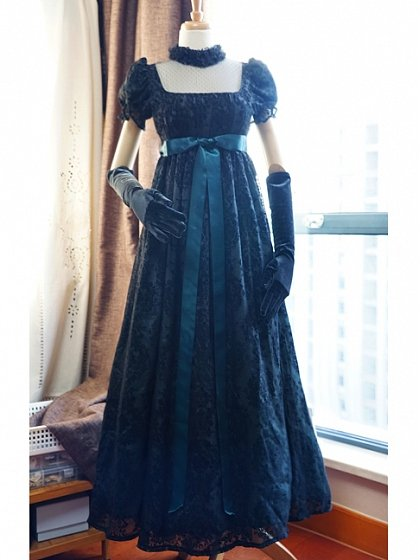 Custom Size Available Flocking Chiffon-Overlay Gown by Surface Spell