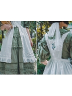 Waterfront of Blooming Thyme Embroidery Ruffle-Hemline Overdress by Surface Spell