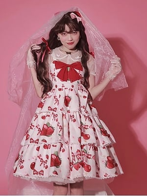Cherry Strawberry Tiered Skirt Lolita Dress JSK by Starry Sugar
