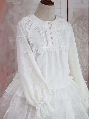 Star Sand Long Sleeves Cute Chiffon Blouse by Sugar Tale Lolita