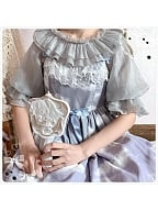 Cream Bubbles Short Sleeves Blouse by Sugar Tale Lolita