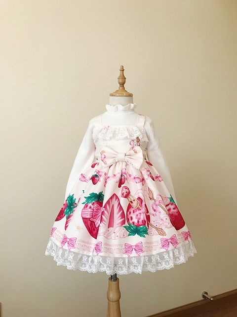 Cream Strawberry JSK Kids Version by Starwish