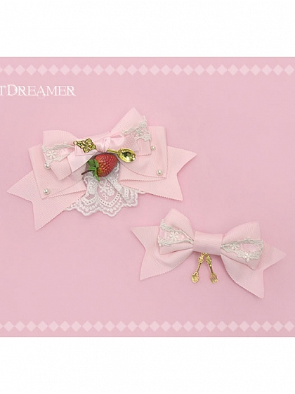 Dessert Party Strawberry Cutlery Lace Bow Edge Clip by SweetDreamer