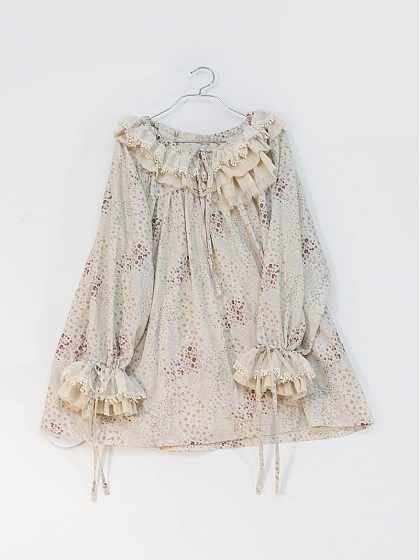Unique Woolen Collar Design Natural Material Printed Cotton Skin Friendly Long Blouse SweetDreamer
