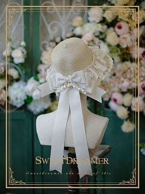 French Vintage Girl Lily of the Valley Bow Lace Straw Hat by SweetDreamer