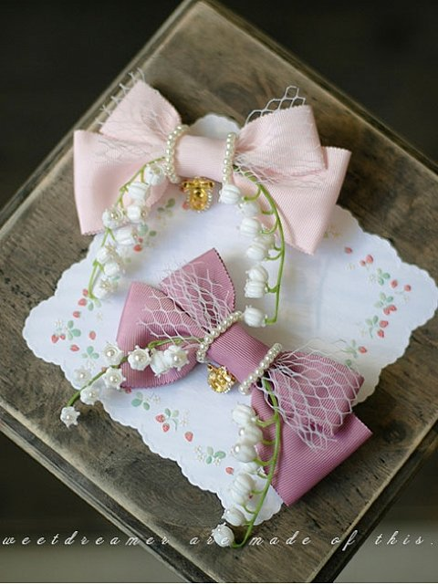 French Vintage Girl Pearl Lily of the Valley bow Hairclip or Brooch by SweetDreamer