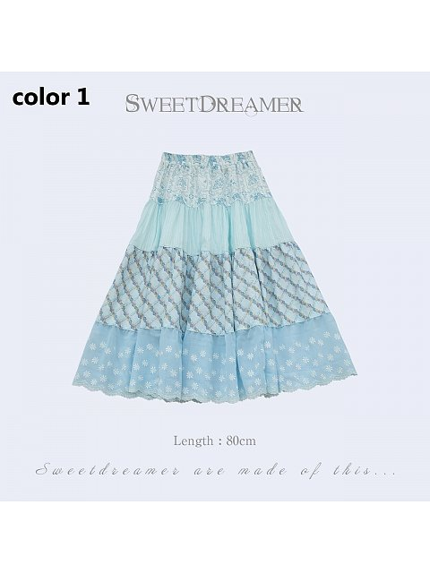 Summer Flowers Cotton and Linen Skirt I by SweetDreamer
