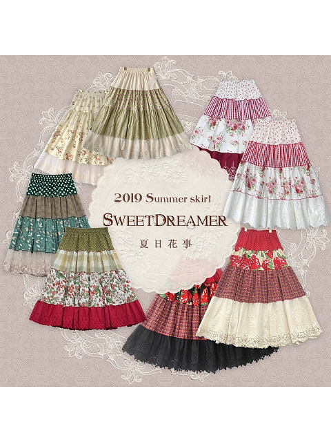 Summer Flowers Cotton and Linen Skirt II by SweetDreamer