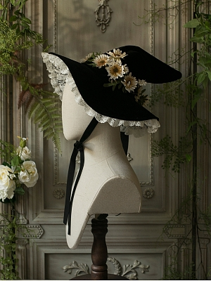 Witch Forest Halloween Velvet Daisy Witch Hat by Sweet Dreamer