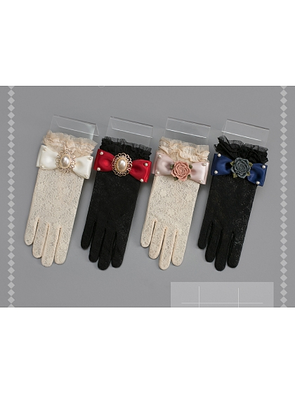 Bowknot Decorated Brocade Glove by Sweet Dreamer
