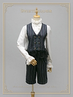 British Style Gold Stamping Stripes Waistcoat and Shorts by Sweet Dreamer