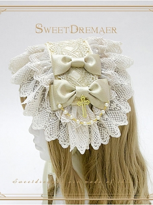 Dual-Layer Lace Trim Cross Pendant Hairband by Sweet Dreamer