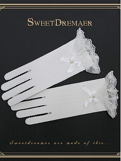 Vintage Imitated Pearl Lace Gloves By Sweet Dreamer