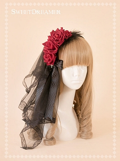 Black Swan Rose Feather KC With Veil By Sweet Dreamer
